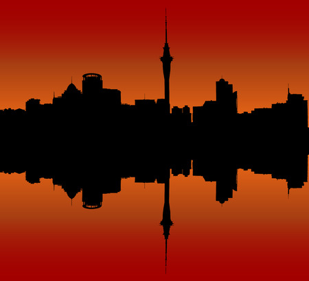iconic architecture: Auckland Downtown Skyline During Sunset