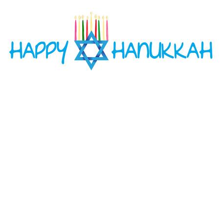 Vector Illustration card with traditional objects - Star of David and Menorah or hanukkiya for the Jewish holiday of Hanukkah 矢量图像