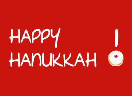 Vector Illustration of Red Card with Traditional Sufganiya Donut for Hanukkah