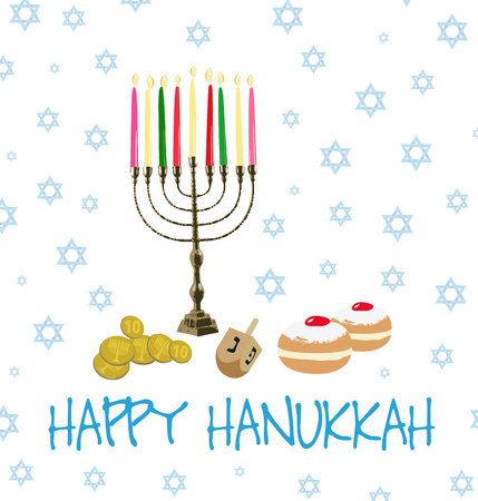 Vector Illustration card with a collection of traditional objects for the Jewish holiday of Hanukkah