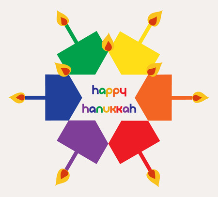 Vector - Colorful Happy hanukkah Jewish holiday greeting card with dreidels spinning tops and candles