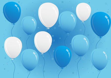 Illustration of blue and white party balloons for a party or birthday card invitation.