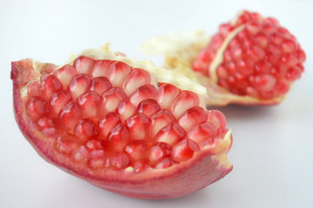 Pomegranate Fruit seeds. Food background and texture for the Jewish festival of Sukkot (Feast of Tabernacles) in Israel and around the world.  Copy space