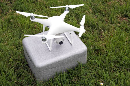 Personal quadcopter drone use for recreational and commercial UAV mainly intended for aerial cinematography and photography. Copy space