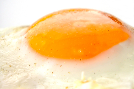 Sunny side up egg close up. Food background and texture. Copy space