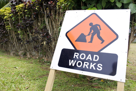 Road works sign during a road surface repairs.