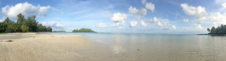 Panoramic landscape view of Muri lagoon at midday in Rarotonga Island , Cook Islands. 写真素材
