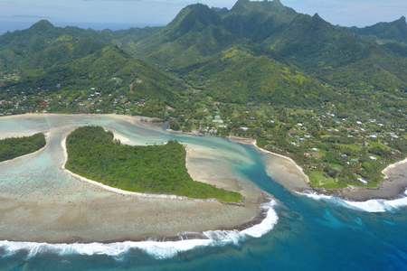 Aerial landscape view of the beautiful Muri Lagoon and its Motus (Islets) in Rarotonga Island in the Cook Islands.