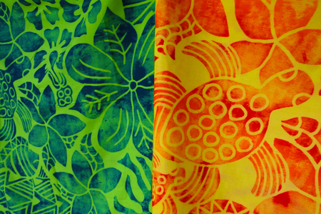 Tropical sarong on display in Rarotonga market Cook Islands.Traditional fabric patterns worn by Polynesians and other South Pacific Islanders and Oceanic people. Stock Photo