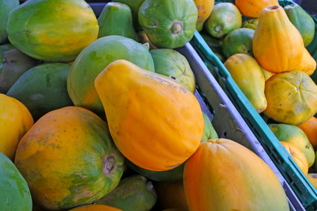 Papaya fruit for sale at the food market in Rarotonga, Cook Islands.Food background and texture. Copy space