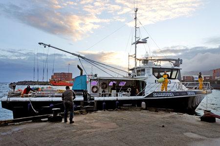 RAROTONGA - DEC 12 2017:Fishing trawling boat arrives at Ports of Avatiu Rarotonga. Cook Islands exclusive economic zone territorial waters stretches for nearly 2 million square km (772,395 sq).