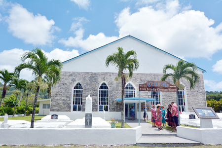 RAROTONGA -DEC 26 2017 :Cook Islanders pray at CICC church.94% of Cook Islanders (14,974) associated themselves with a faith.The Cook Islands Christian Church (CICC) dominant with 49% (7,356) members.
