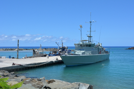 RAROTONGA - DEC 29 2017:Te Kukupa patrol boat.It's one of 22 patrol boats built by Australia and donated to 12 South Pacific countries as part of their military, coast guard or police force.