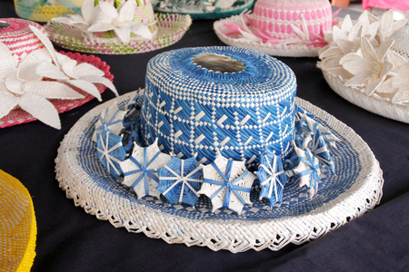 Cook Islander women woven Rito Hats collection. Rito hats are worn by women to church. They are made from the uncurled immature fibre of the coconut palm and are of very high quality.