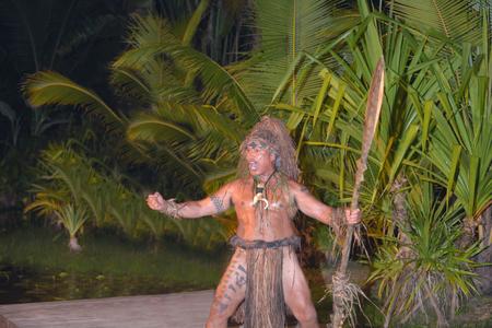Polynesian Cook Islander people in cultural performance in Rarotonga, Cook Islands. Real people. Copy space.