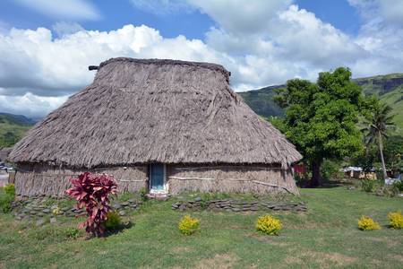 Traditional thatched houses in Navala villages, one of few that left in the Ba Highlands of northern-central Viti Levu, Fiji. Stock Photo