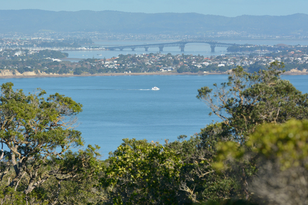 Aerial landscape view of Auckland harbour bridge in as view from Rangitoto Island Auckland, New Zealand. Reklamní fotografie