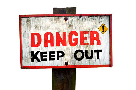 Danger keep out wooden sign panel isolated on a white background. Ciopy space