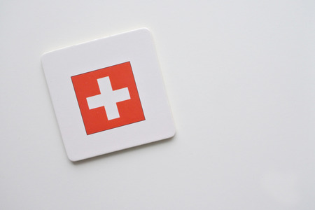 Switzerland flag on white background. copy space