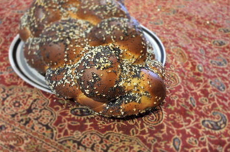 Challah, a special bread in Jewish cuisine, usually braided and typically eaten on ceremonial occasions such as Sabbath and major Jewish holidays (other than Passover).