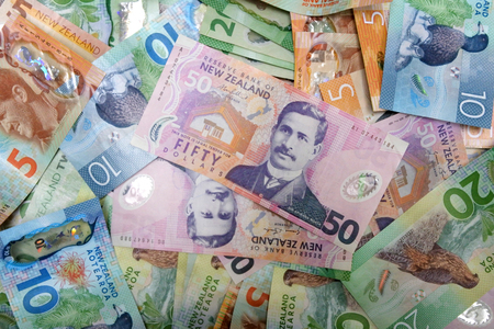 New Zealand currency mixed notes background.