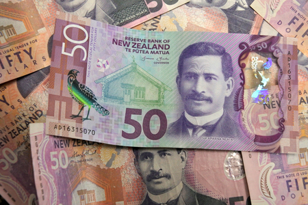 New Zealand currency of 50 dollar notes background.