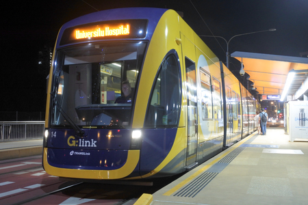 GOLD COAST, AUS - DEC 09 2018:Gold Coast Light Rail G in Surfers Paradise Av in Gold Coast Queensland, Australia.The line opened on July 2014 and it 13 Km (8.1 mi) long. Editorial