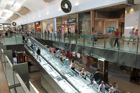 GOLD COAST, AUS - DEC 13 2018:People shopping in Robina Town Centre the second largest shopping centre on the Gold Coast with over 350 retail outlets covering over 130,000 square metres.