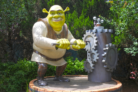 GOLD COAST - DEC 19 2018:Shrek character turning a chainwheel of old hand water pump in Dreamworld. Shrek won the first ever Academy Award for Best Animated Feature.