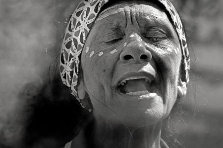 Black and White Portrait of a mature adult Aboriginal Woman