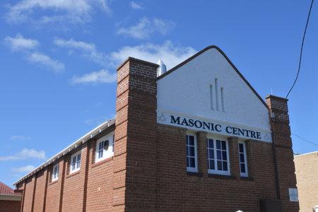 COOMA, NSW - MAR 02 2019:Masonic Center à Cooma Town New South Wales Australie.Les francs-maçons se rassemblent dans une loge pour travailler les trois degrés de base d'apprenti, de compagnon et de maître maçon. Éditoriale