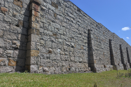 The outer walls of Trial Bay Gaol in Trial Bay Gaol in South West Rocks, Arakoon Kempsey Shire, New South Wales, Australia Reklamní fotografie