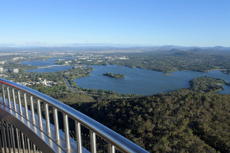 Aerial landscape view of Canberra the capital city of Australia located in the ACT, Australian Capital Territory, Australia.