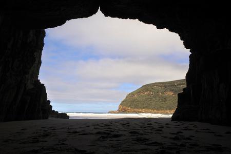 Landscape view of the Remarkable Cave Tasman national park Tasmania Australia