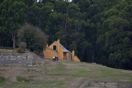 Smith O'Brien's Cottage in Port Arthur village historic site, a 19th-century penal settlement, located in Tasman Peninsula southern Tasmania, Australia.
