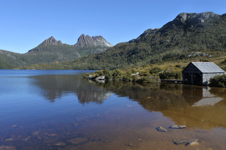 Landscape view of Dove Lake Boatshed at Cradle Mountain-Lake St Clair National Park Tasmania, Australia.