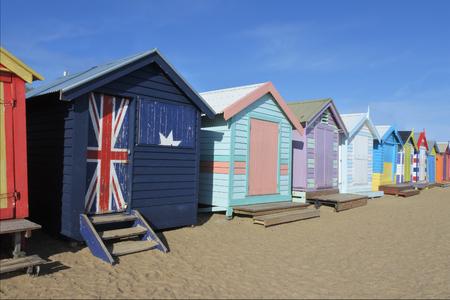 Boîtes de baignade victorienne à Brighton Beach Melbourne Victoria Australie Banque d'images