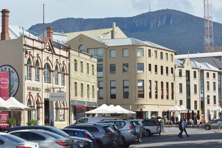 Hobart, Tasmania - March 25, 2019: Salamanca Place, a popular tourist attraction in Hobart capital city of Tasmania, Australia.