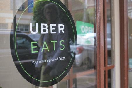 Melbourne, Australia - April 01, 2019: Uber Eats Sign on a restaurant