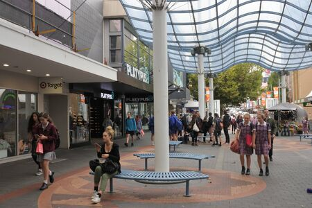 Hobart, Tasmania - March 21, 2019: Elizabeth Street Mall, the largest shopping area in the Hobart city centre Tasmania Australia. Editorial