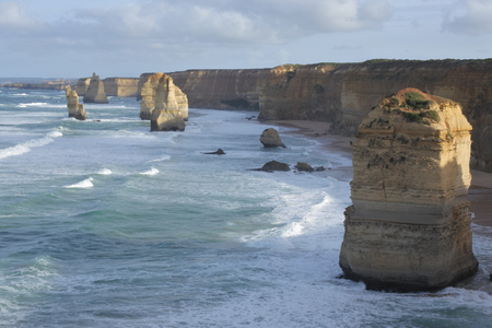 Landscape view the Twelve Apostles at Port Campbell National Park along the Great Ocean Road in Victoria, Australia. Stock Photo