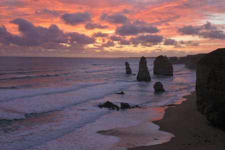 Landscape view the Twelve Apostles on sunset at Port Campbell National Park along the Great Ocean Road in Victoria, Australia. Stock Photo