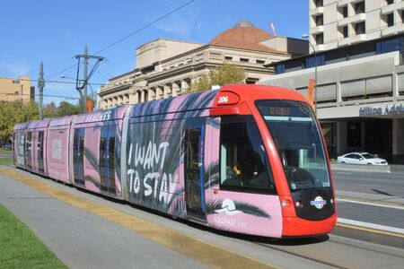 Adelaide, Australia - May 06 2019:  Adelaide city tram. Adelaide Metro provides a free tram service in Adelaide the capital city of South Australia. Editoriali