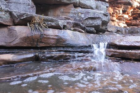 Fresh water stream flowing over rocks cascade in Alligator Gorge at Mount Remarkable National Park, South Australia