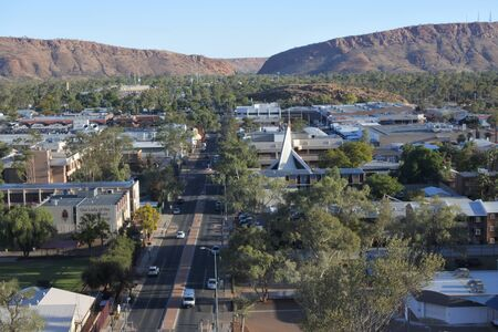 Aerial landscape view of Alice Springs the capital of Australia red centre located in the Northern Territory of Australia. Imagens