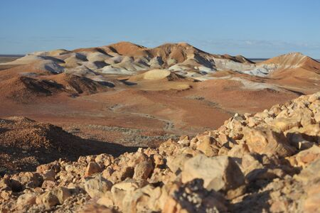 Landscape view of The Breakaways Reserve near Coober Pedy, South Australia.