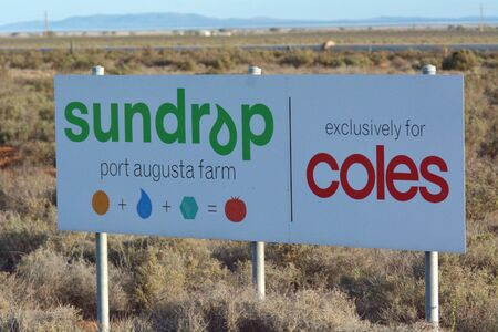 Port Augusta, South Australia - May 17 2019:Sundrop Farms,high tech greenhouse facility using technology solutions to grow crops with less reliance on finite natural resources than conventional greenhouse production.
