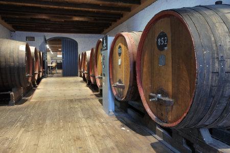 Adelaide, South Australia - May 14 2019:Large Oak wine barrels in vinyared in Barossa Valley in South Australia. Barossa Valley is a renowned wine-producing region northeast of Adelaide in South Australia 新聞圖片