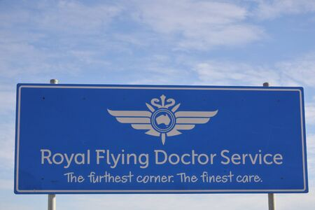 Port Augusta, South Australia - May 17 2019:Royal Flying Doctor Service of Australia.Its medical organization provides emergency and health care services for Australian people in rural and remote areas of Australia.