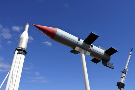 Woomera, South Australia - May 15 2019:Woomera Missile Park.Woomera town was home to personnel who worked between 1947-1980 in experimental station to test rockets, weapons and missiles in South Australia